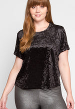 Plus Size Oak Crushed Velvet Top in Black