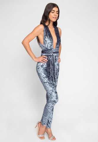 Persuation Crushed Velvet Jumpsuit in Blue