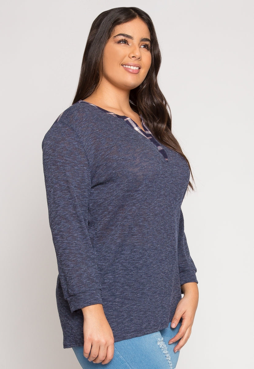 Plus Size Good Times Marled Top - Plus Tops - Wetseal