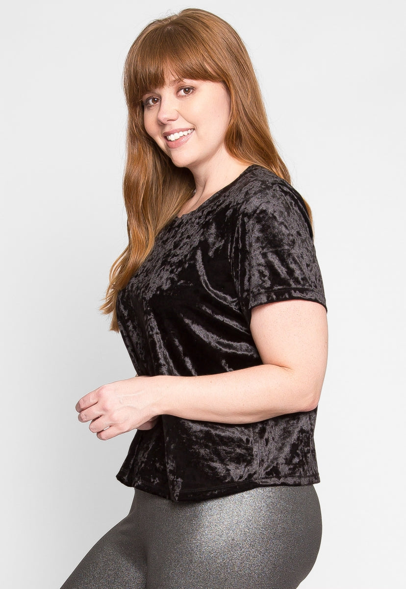 Plus Size Oak Crushed Velvet Top in Black - Plus Tops - Wetseal