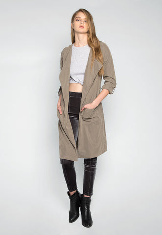 Almost Famous Roll Tab Lapel Coat in Sage