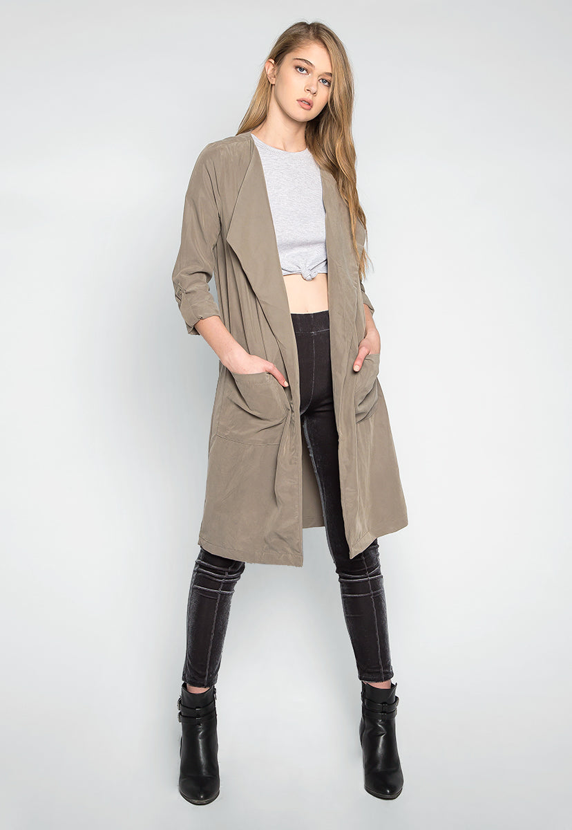 Almost Famous Roll Tab Lapel Coat in Sage - Jackets & Coats - Wetseal