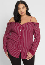 Plus Size Attraction Stripe Blouse
