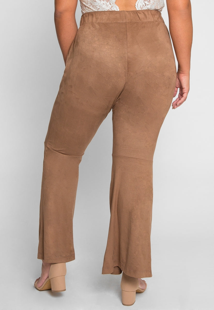 Plus Size Your Eyes Faux Suede Flare Pants