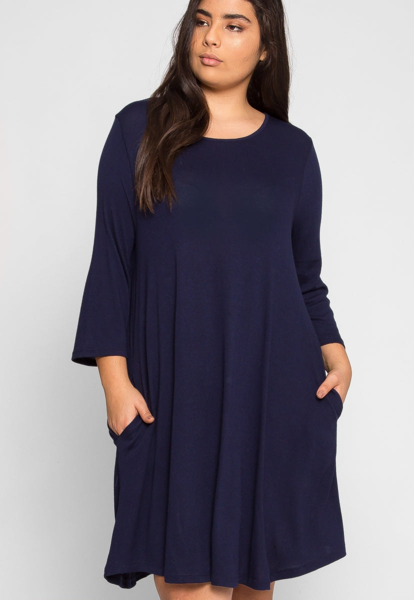 Plus Size Albany Trapeze Dress in Navy - Plus Dresses - Wetseal