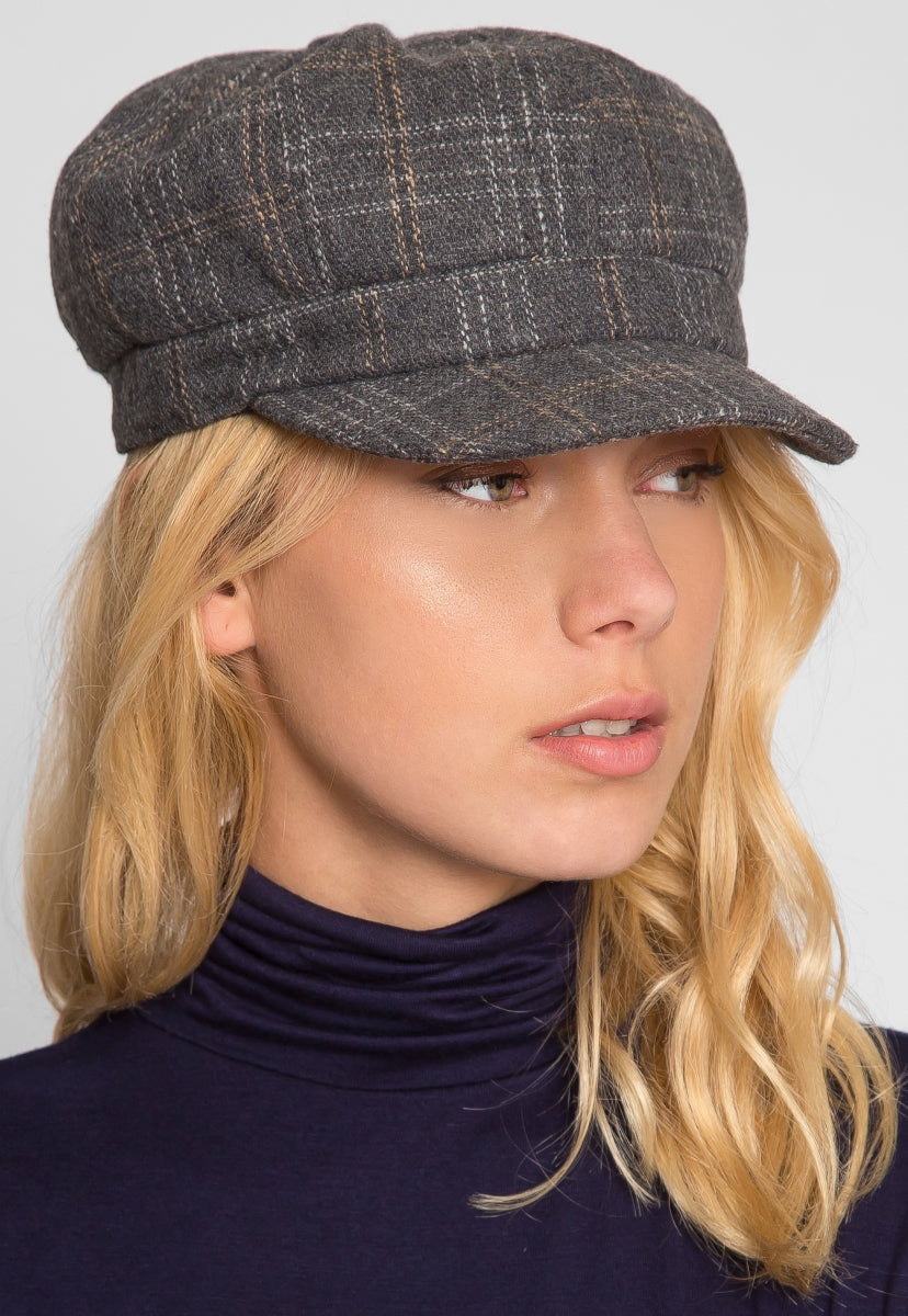 Sea Woman Plaid Cabby Hat in Gray - Hat & Hair - Wetseal