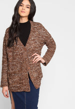 Fast Pace Marled Cardigan in Brown