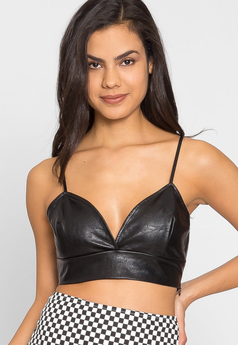 Edge Faux Leather Crop Top - Crop Tops - Wetseal