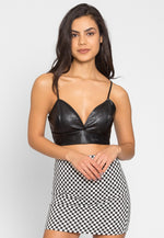 Edge Faux Leather Crop Top