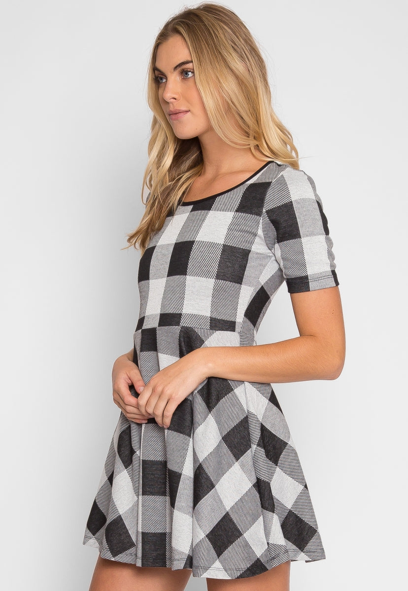 Score Plaid Fit and Flare Dress - Dresses - Wetseal