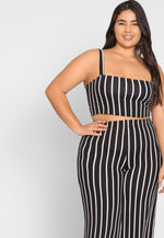Plus Size Rivers Stripe Culotte Set in Black