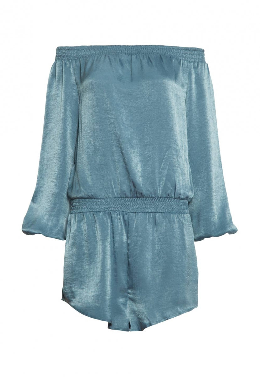 Malvern Satin Off Shoulder Romper in Blue - Rompers & Jumpsuits - Wetseal