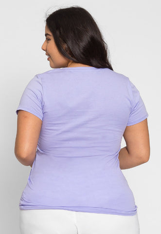 Plus Size Ivy V-Neck Tee in Lilac