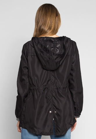 Rain Clouds Lightweight Anorak Jacket in Black