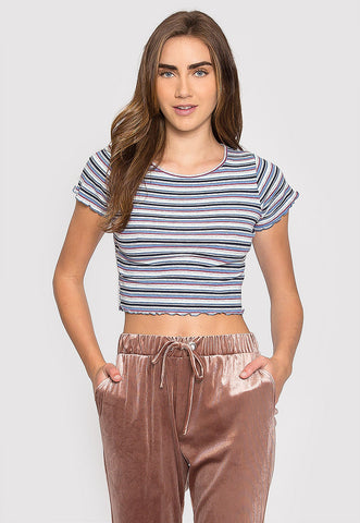 Baby Girl Stripe Crop Top in Blue