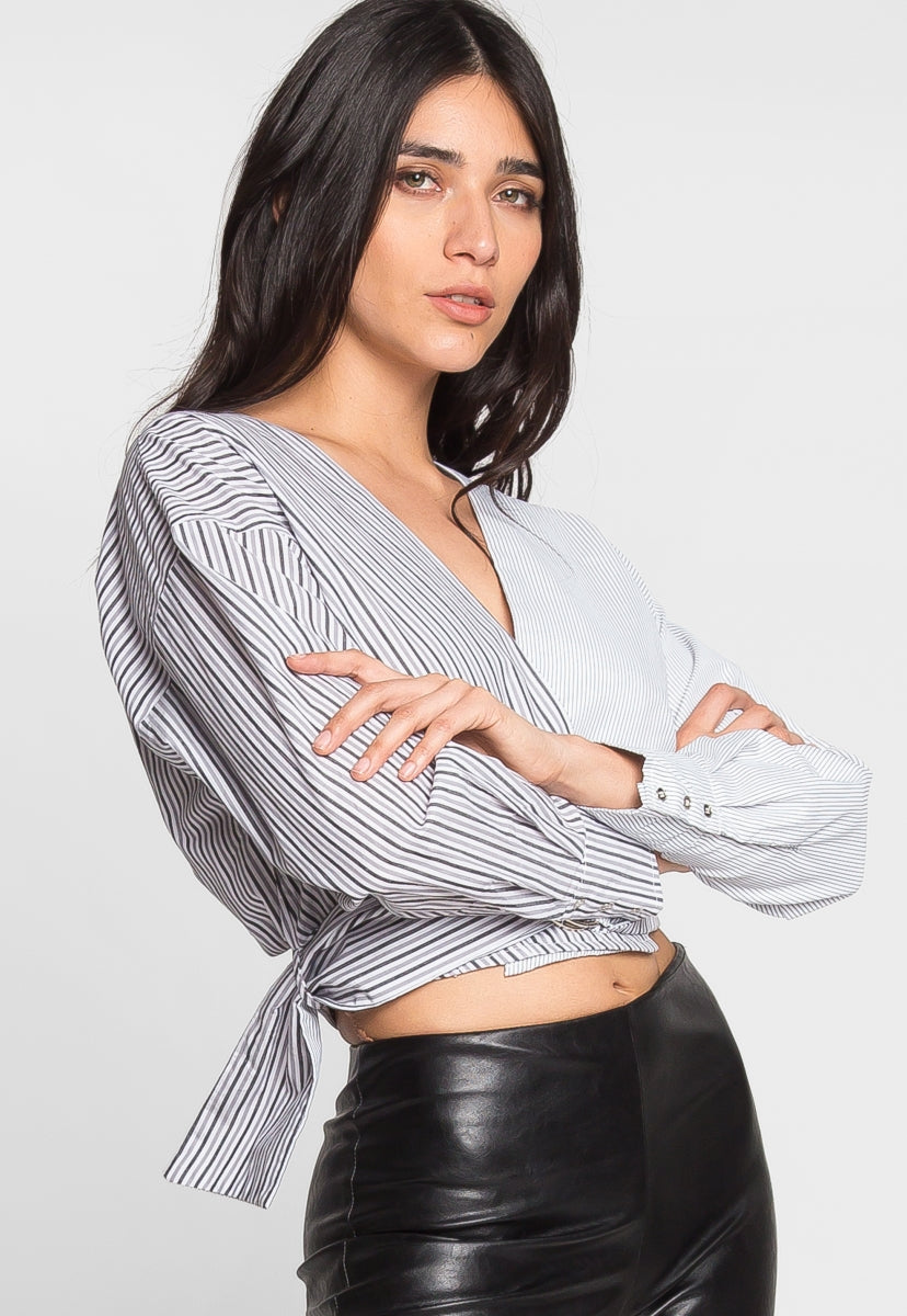 Mixed Stripe Crop Wrap Top - Shirts & Blouses - Wetseal