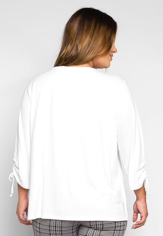 Plus Size Small Things Ruched Sleeve Top in White