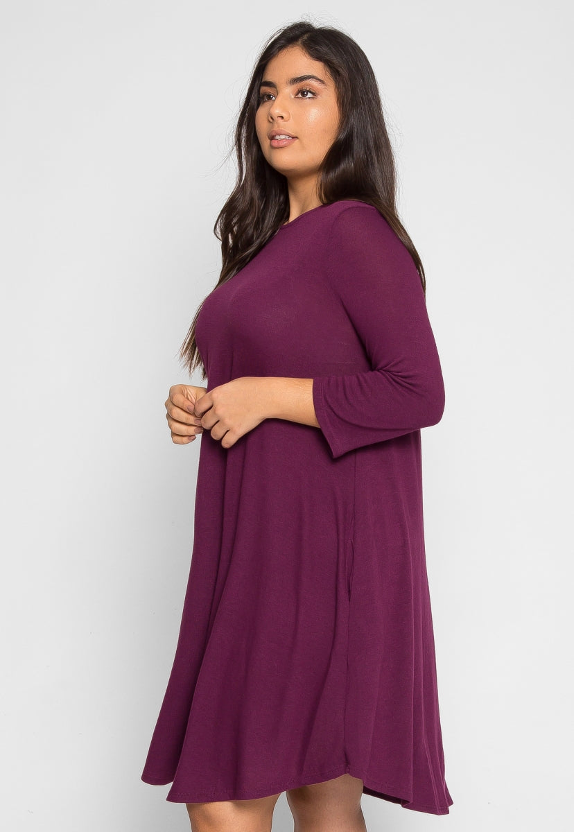 Plus Size Albany Trapeze Dress in Purple - Plus Dresses - Wetseal