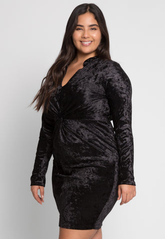 Plus Size Wild Velvet Party Dress in Black