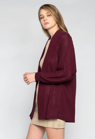Keep Me Warm Textured Cardigan in Burgundy