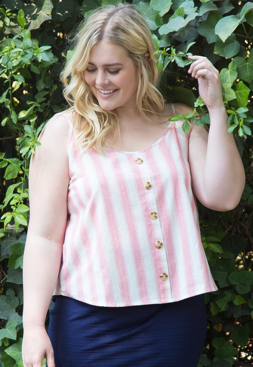 Plus Size Fun Button Front Stripe Top in Pink - Plus Tops - Wetseal