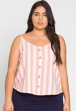 Plus Size Fun Button Front Stripe Top in Pink