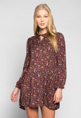Gypsy Floral Tie Neck Mini Dress