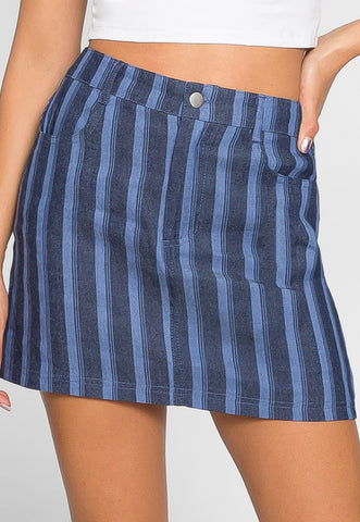 Cherry Stripe Denim Skirt
