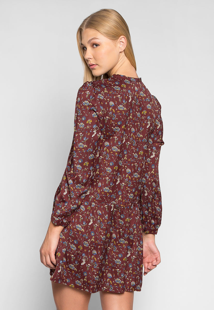 Gypsy Floral Tie Neck Mini Dress - Dresses - Wetseal