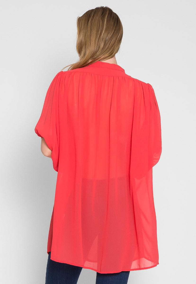Coral Burst Bubble Sleeve Blouse - Shirts & Blouses - Wetseal