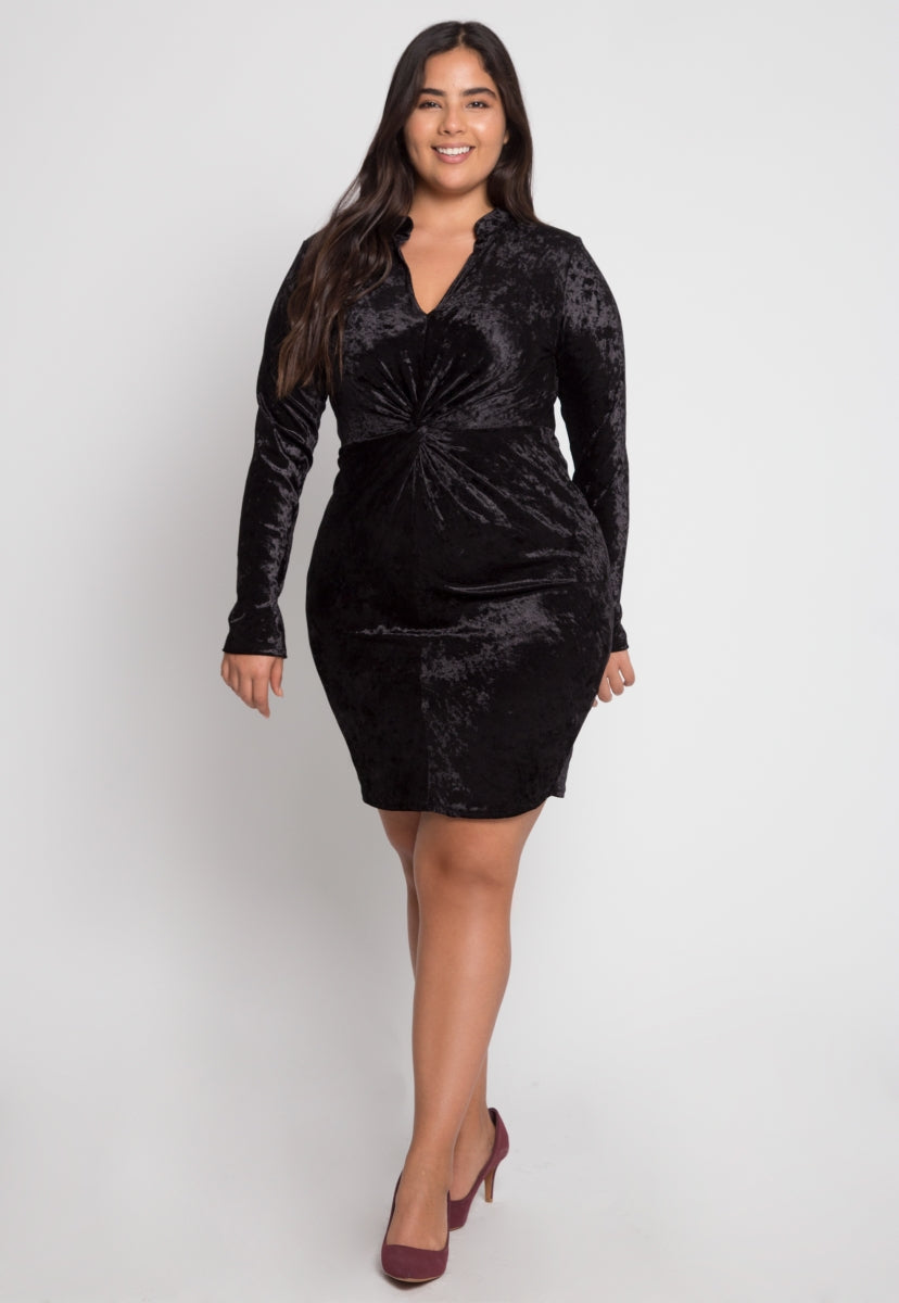 Plus Size Wild Velvet Party Dress in Black - Plus Dresses - Wetseal
