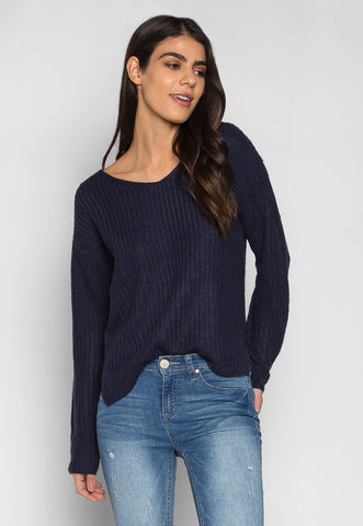 Loving It V Neck Pullover Sweater in Navy