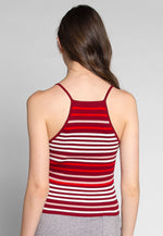 Stripes on Stripes Knit Top in Red