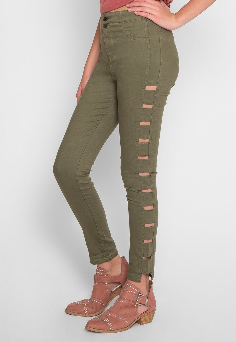 Good Times Cut Out Pants in Olive - Jeans - Wetseal