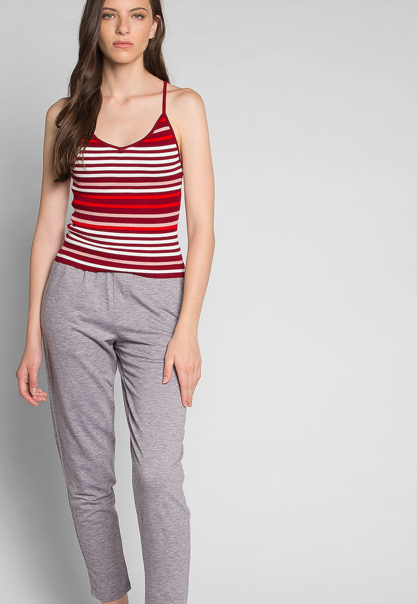 Stripes on Stripes Knit Top in Red - Tanks - Wetseal