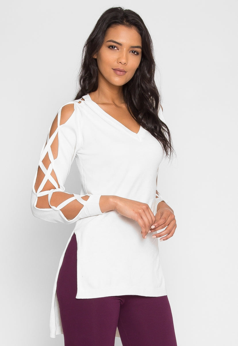 Daisy Lattice Sleeve Sweater in White - Sweaters & Sweatshirts - Wetseal