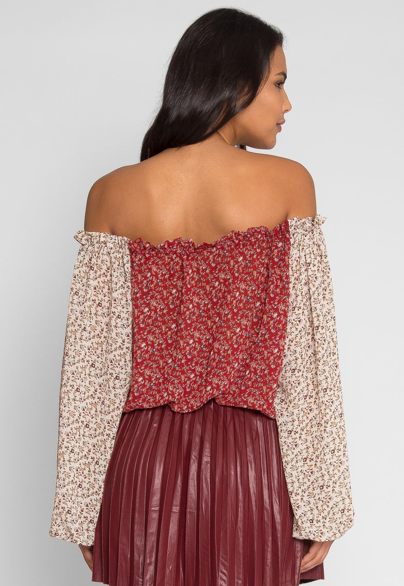 Pembrooke Floral Top in Red - Shirts & Blouses - Wetseal