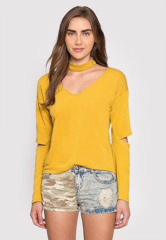 Refresher Choker Knit Top in Mustard