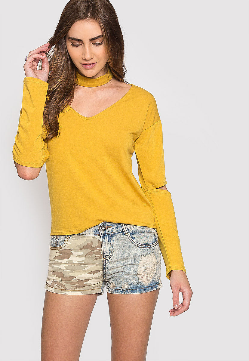 Refresher Choker Knit Top in Mustard - Shirts & Blouses - Wetseal