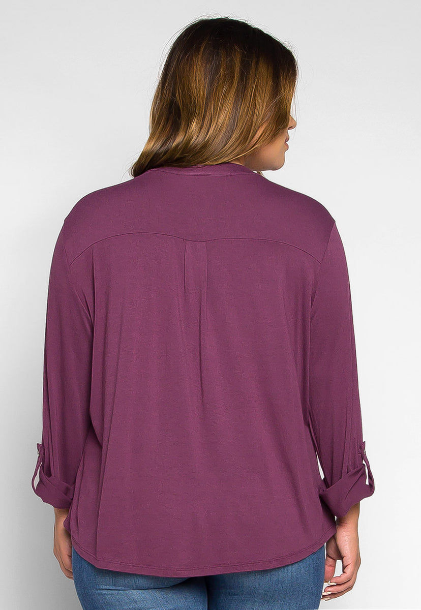 Plus Size Madeline Roll Tab Sleeve Blouse in Purple - Plus Tops - Wetseal