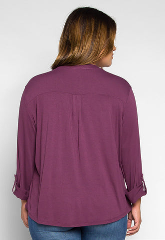 Plus Size Madeline Roll Tab Sleeve Blouse in Purple
