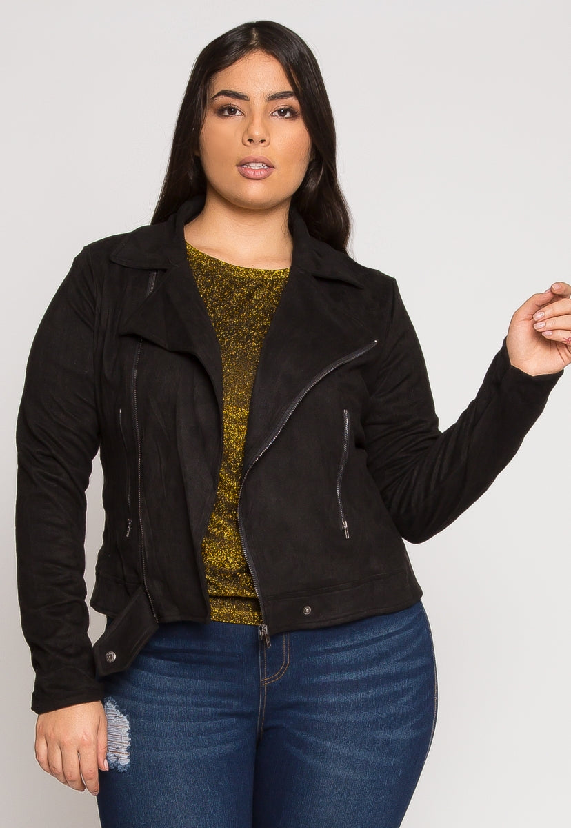 Plus Size Faux Suede Moto Jacket - Plus Outerwear - Wetseal