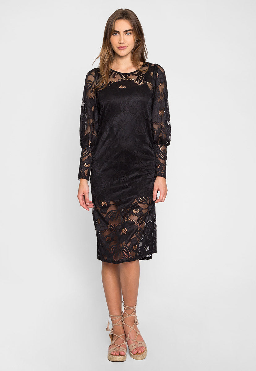 Lovely Lace Midi Dress - Dresses - Wetseal