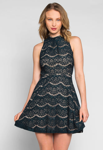 Violet Mock Neck Lace Dress