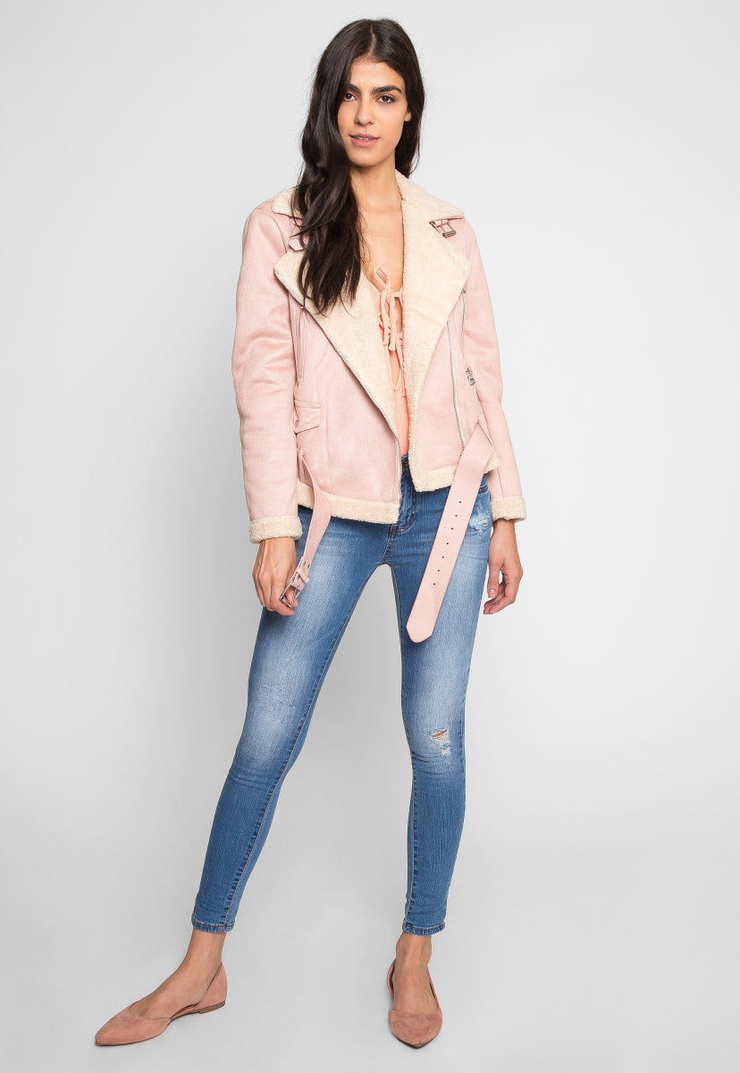 Colorado Sherpa Jacket in Pink - Jackets & Coats - Wetseal