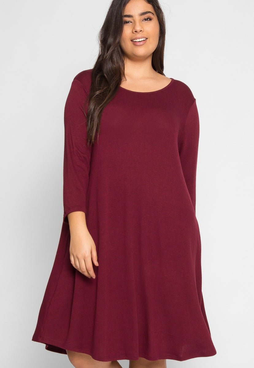 Plus Size Albany Trapeze Dress in Burgundy - Plus Dresses - Wetseal