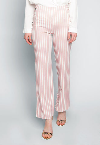 Flare Games Stripe High Waist Pants In Pink