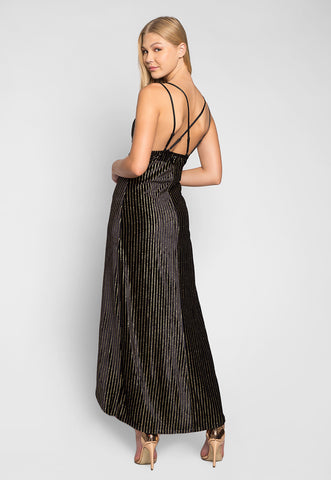 Night Wishes Glitter Striped Velvet Maxi Dress
