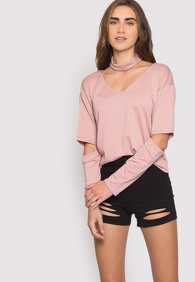 Refresher Choker Knit Top in Blush - Shirts & Blouses - Wetseal