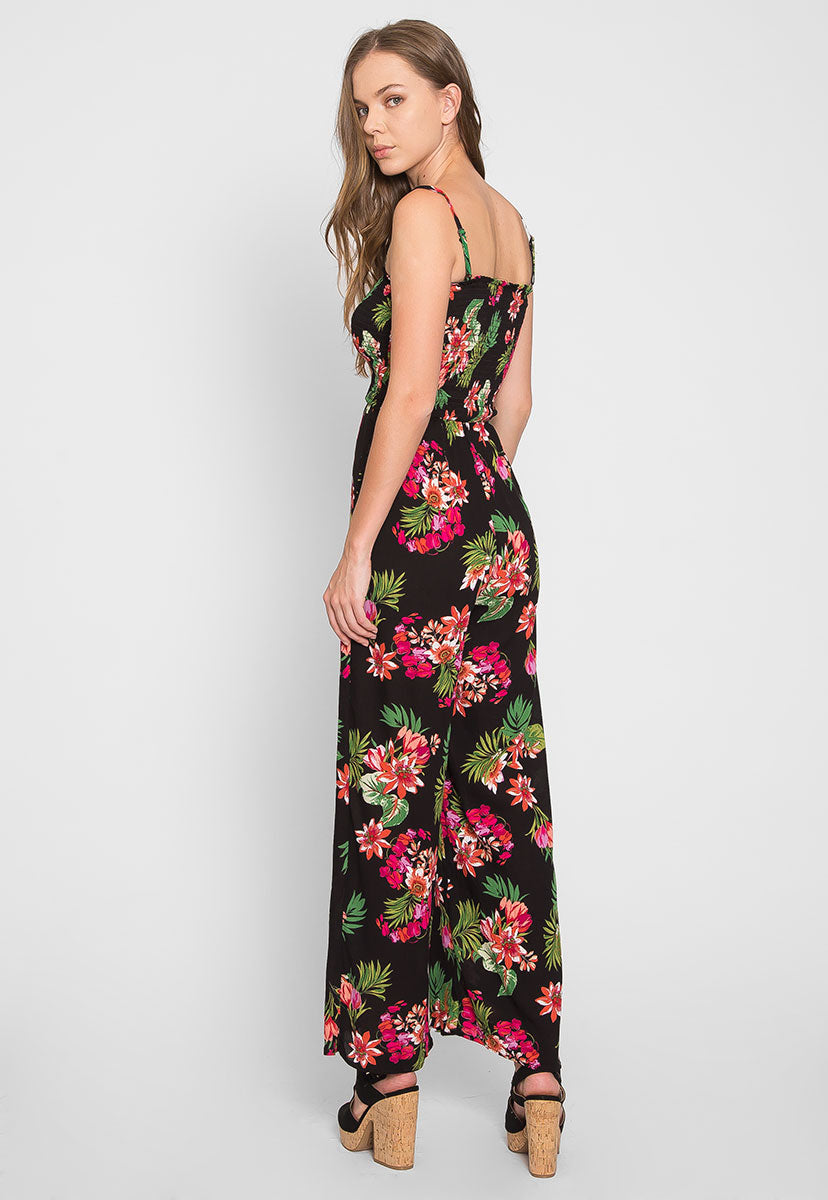 Paradise Floral Smock Jumpsuit - Rompers & Jumpsuits - Wetseal